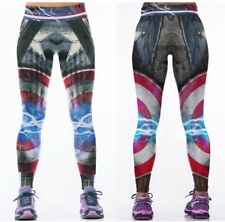 Marvel Comics CAPTAIN AMERICA Logo Yoga Pants OSFM Leggings  PREMIER QUALITY!!!