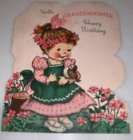 Vintage 1950's Norcross Granddaughter Happy  Birthday Card