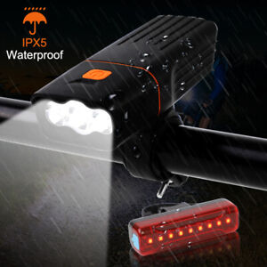 Rechargeable T6 LED Bicycle Bike Lights USB Front Rear Headlight Tail Light Set