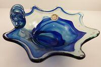Sooner Glass Cobalt Blue Swirl Art Glass Bowl