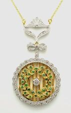 Emerald Necklace Art Deco 925er Silver Gold Plated