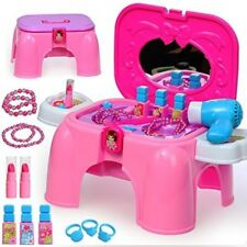 Pretend Makeup Jewellery Dressing Vanity Table Play Set 2in1 Carrycase And Stool