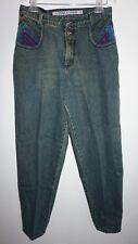 VTG 1980s Zena Multicolor Denim Blue Jeans Womens Sz 13 High Waist 30x30