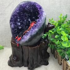 Natural Uruguay Deep Purple Crystal Quartz Amethyst Geode Clusters +Stand gift