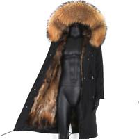 Mens Waterproof Winter Warm Parka Jacket Faux Fur Long Padded Outerwear Coat