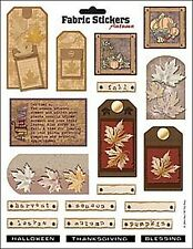 AUTUMN FABRIC STICKERS Fall Leaves Scrapbooking Card Making Stamping