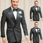 Men Black Groom Tuxedo Double Breasted Peak Lapel Prom Party Wedding Suits
