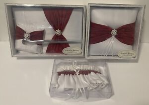 Davids Bridal Collection Guest Book & Pen,Garters,Ring Pillow - Red & White NIP
