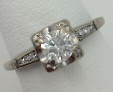 14K White Gold .51TCW Diamond Engagement Ring Size  5 5/8 SI1 H 2.3 Grams