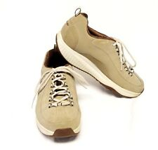Sketchers Shape Ups Walking Shoes 10M Taupe Nubuck Leather Lace Up Curved Sole