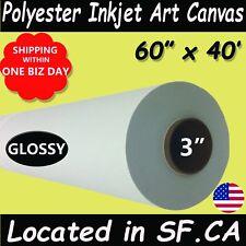 "60"" x 40', 1 Roll,Glossy Polyester Inkjet Art Canvas for UV Printer,3 Core"