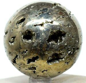 "2"" Golden Pyrite Geode Sphere Polished Sparkling Druzy Crystal Ball - Peru (1PC)"