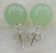 New 10mm Jewelry Natural Light emerald jade  & Sterling Silver Stud Earrings