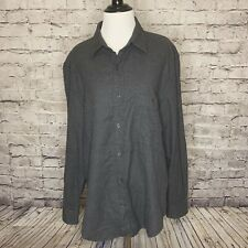 Mens 7 For All Mankind One Pocket Flannel Heather Charcoal Cotton Button Down Md