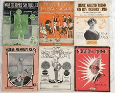 Nine COMIC FOOLISH EFFEMINATE GUYS 1908-1917 sheet music PETE WENDLING Romeo +++