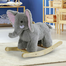 Ride on Elephant Rocker Children Rocking Horse Grey Nursery Rhymes Kids Toy Game