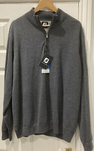 *NEW WITH TAGS* Footjoy Lambswool Lined 1/2 Zip Pullover Charcoal Grey Size XL