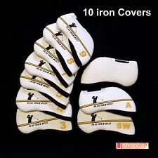 10 X Golf Iron Covers For All-Brand match your Golf Bag White/Yellow