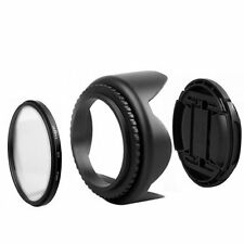 62mm UV Filter+Lens Cap+Flower Lens Hood for Canon 80D 70D 60Da Tamron 18-200mm