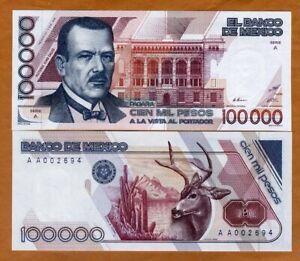 Mexico 100000 (100,000 Pesos, 1988 P-94a, A-AA Low S/Ns UNC > Highest Denom