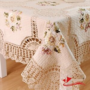 100% Handmade Crochet Tablecloth,Elegant European Rustic Floral Table Decoration