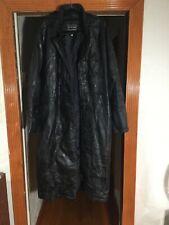 Navarre Leather Company Italian Stone Design Leather Black Trench Coat Men 3X
