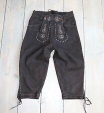 Women's Vintage WOLPERDINGER Brown 100% Leather Bavarian Cargo Shorts W25 L16