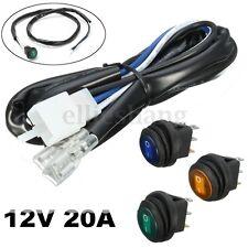 12V 20A Car Boat LED Work Fog Spot Light Bar ON/OFF Rocker Switch Wiring Harness