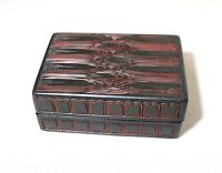 unique vintage handmade Chinese carved black red lacquer cinnabar wood box