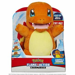 Pokemon Flame Action Lights & Sound Interactive Plush Charmander New Ages 3+