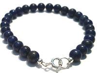 Lapis Lazuli Bracelet in Sterling Silver with Blue Semi precious Gemstone Beads