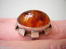 835 Silber Ring Bernstein Fischland Pressbernstein Honig 3,9 g/16,8 mm Amber