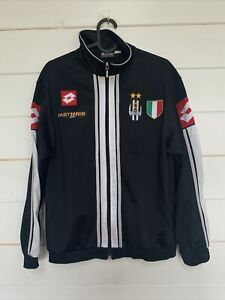LOTTO Boys Juventus Tracksuit Top Jacket 13-14 Years Small Black Polyester L