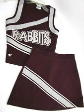 "VARSITY Real High School Cheerleader Uniform RABBITS 34"" Top 26 Skirt Maroon"