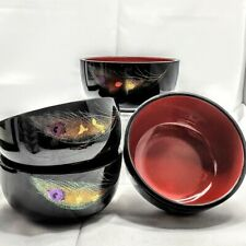 Vintage Japanese Lacquerware set of 4 Soup Bowls hand painted
