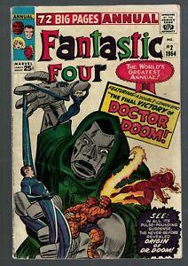 Marvel Comics Fantastic four 2 Annual king size Origin Dr Doom 4.5 VG+ 1964
