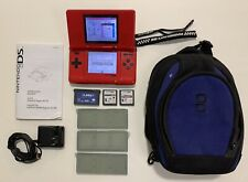 Nintendo DS Console Lava Red BUNDLE 3 Games Charger Case, no stylus, broke hinge