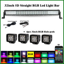 "32"" LED Light Bar RGB Strobe Bluetooth CREE 5D + 4X 3"" RGB Halo Pod Bluetooth"