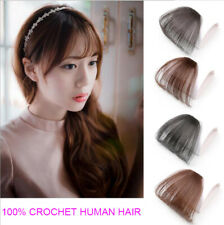 Clip on Thin Neat Air Bangs 100% Real Human Hair Clip in Front Fringe Hair Piece