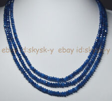 GENUINE TOP NATURAL 3 Rows 2X4mm FACETED Sapphire BEADS NECKLACE 18-20''