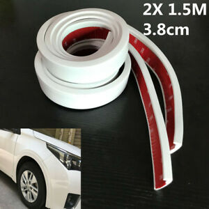 White Car Wheel Trim Rubber Fender Moulding Flares Protection Strips 2Pcs 1.5m