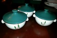 3 x Denby Greenwheat lidded soup bowls / coupes with lug handles. Signed.