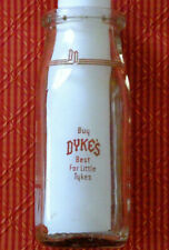 "Vintage Dyke'S Dairy Half Pint Bottle Youngsville, Pa ""Best for Little Tykes"""