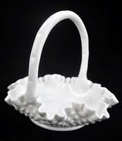 "VTG Fenton Milk White Hobnail Handled 8"" Dia Glass Basket Crimped Ruffled"