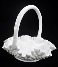 "VTG Fenton Milk White Hobnail Handled 8"" Dia Glass Basket Crimped Ruffled"