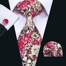 Men's Silk Tie Set Red Blue Black Paisley Striped Checks Necktie Hanky Cufflinks