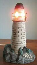 "Light House Decor Night Light Lamp NEW ENGLAND  BLACK/WHITE 7"""