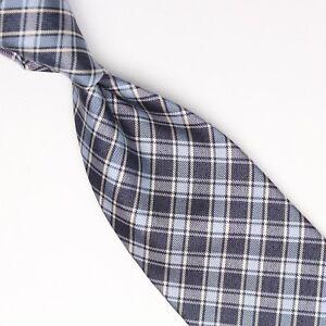 Josiah France Mens Silk Necktie Navy Light Blue Check Weave Woven Plaid Tie