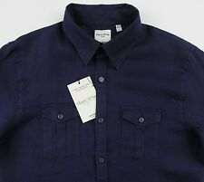 Men's MURANO Navy Blue Linen Pocket Fitted Shirt Large L NWT NEW Nice!