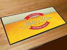 Personalised Any Name Beer label bar runner counter mat home pub man cave